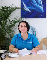 Whale Watching Samana by Kim Beddall - At the Office : Judy Polanco of Whale Samana.