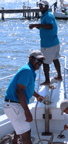 Pura Mia 55 foot Boat of Whale Samana - Dependable staff on board: Olmedo and Michel.